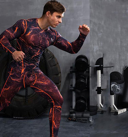 Men's Gym Clothing Lightning Design Compression Pants