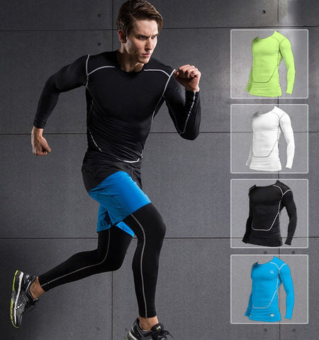 This men's gym clothing is the classic compression long sleeve shirts, help you build greater power output and reduce the risk of injuries during exercises.