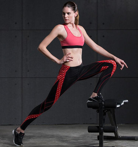 Red Pentagram Pattern Women's Compression Leggings