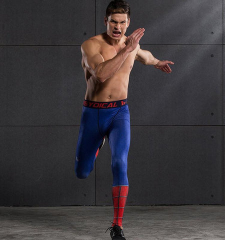 Gym Clothing - Men's Spider-Man Design Compression Pants