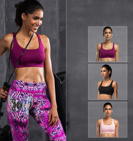 This high impact sport bra with two cross belts has a particular design that will make you looks so charming and sexy, and keep your chest healthy and comfortab...