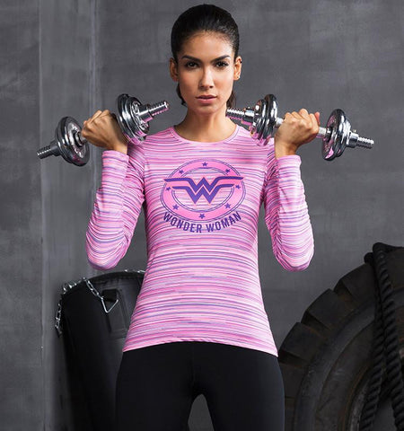 Long Sleeve Cute Workout Shirts with Wonder Woman Pattern