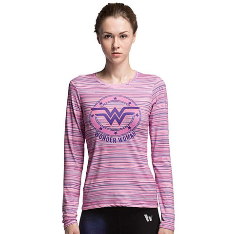 Wonder Woman Long Sleeve Workout Shirts