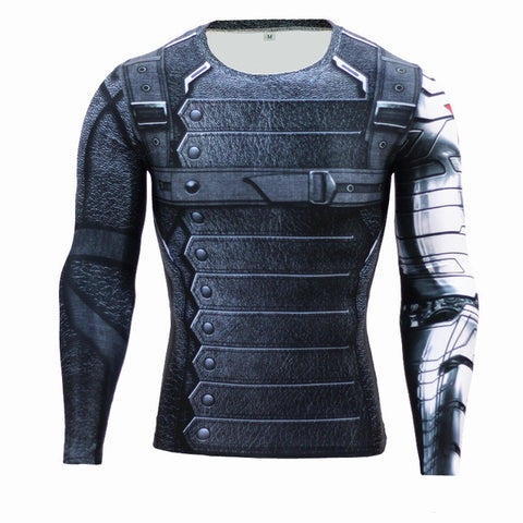 Winter Soldier Workout Shirt Long Sleeves