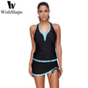 Image of Scalloped Lace Up Swimsuit
