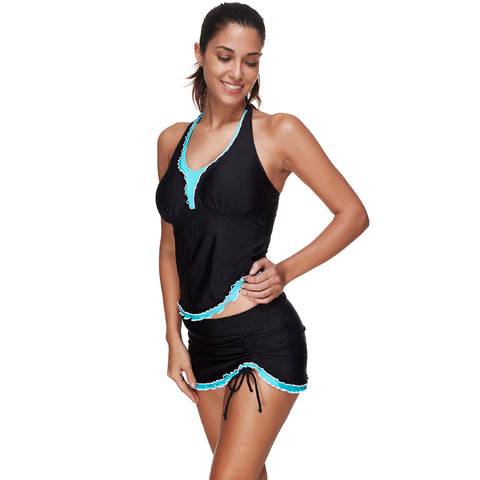 Scalloped Lace Up Swimsuit