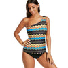 Image of Striped One Shoulder Bikini