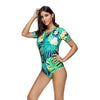 Image of Short Sleeve Palm Tree Leaf Swimsuit