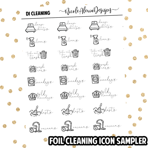 Foil Cleaning Doodle Icon Sampler