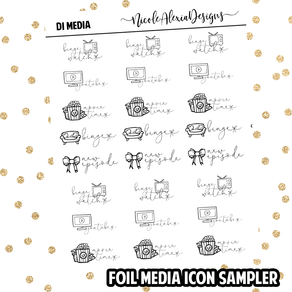 Foil Media Doodle Icon Sampler