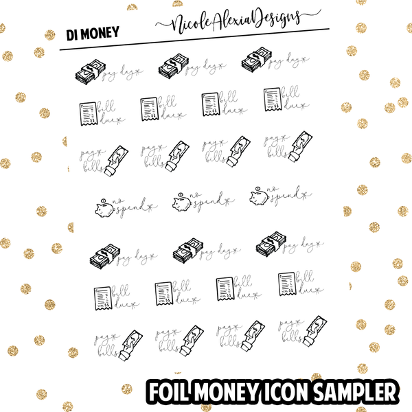 Foil Money Doodle Icon Sampler