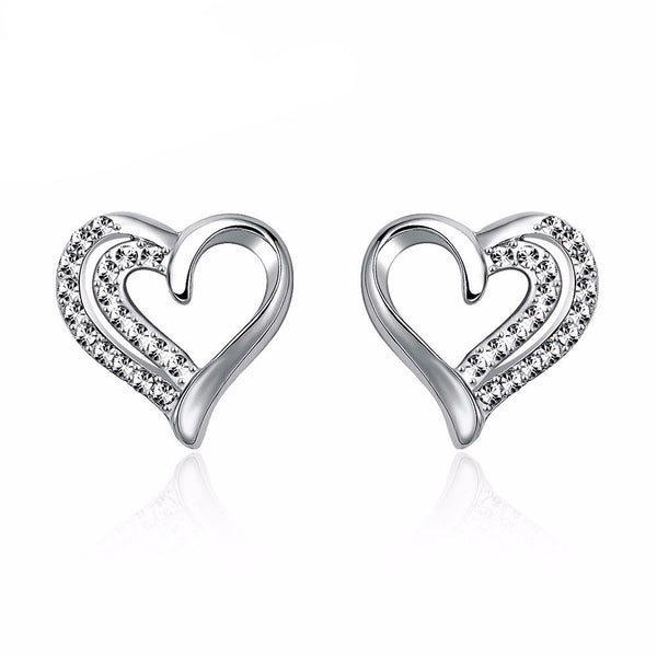 Love Heart of Diamonds Earrings in Silver