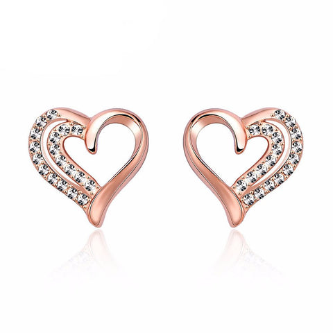 Love Heart of Diamonds Earrings in Rose Gold