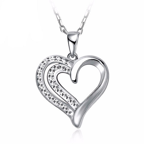 Love Heart of Diamonds Necklace in Silver
