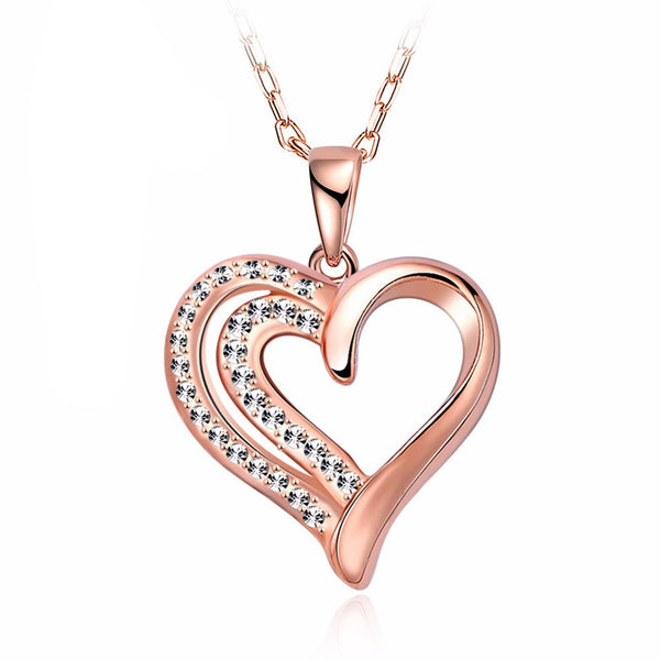 Love Heart of Diamonds Necklace in Rose Gold