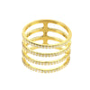 Four Line Geometric Fashion Ring Gold