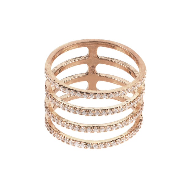 Four Line Geometric Fashion Ring Rosegold