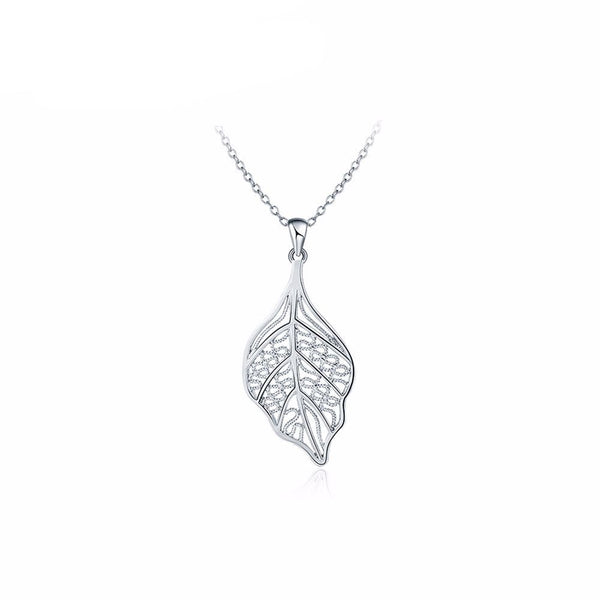 Autumn Leaf Necklace in Silver