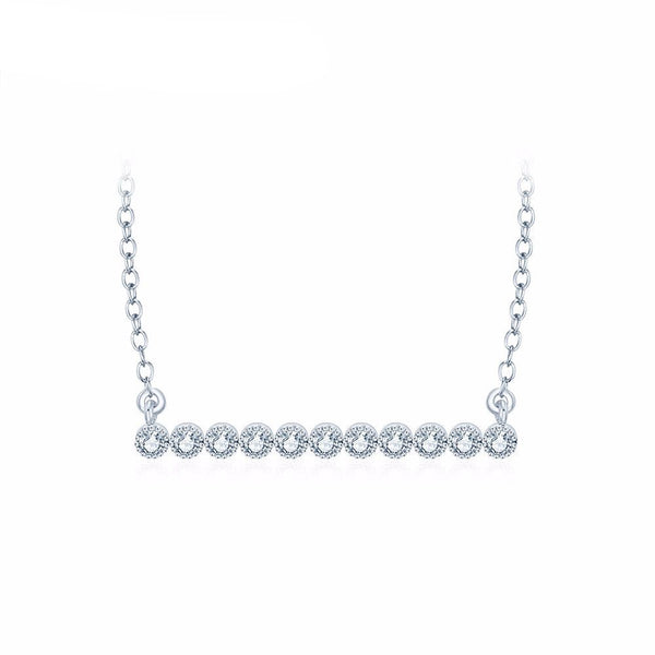 On The Line Diamond Bar Necklace in Silver