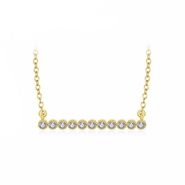 On The Line Diamond Bar Necklace in Gold