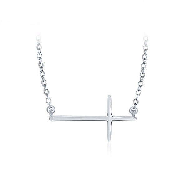 Cross Bar Necklace in Silver