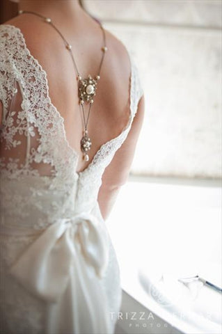 antique gold vintage style bridal backdrop necklace