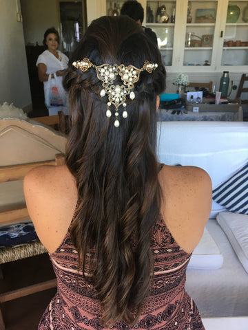 custom antique gold wedding headpiece