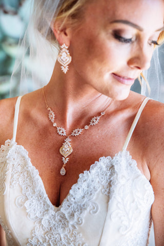 custom rose gold bridal backdrop necklace
