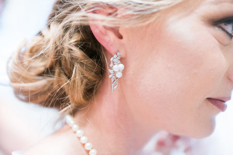 crystal and pearl bridal earrings