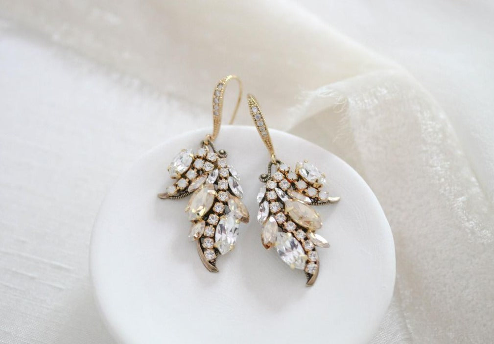 Swarovski crystal dangle Bridal earrings - EMERY