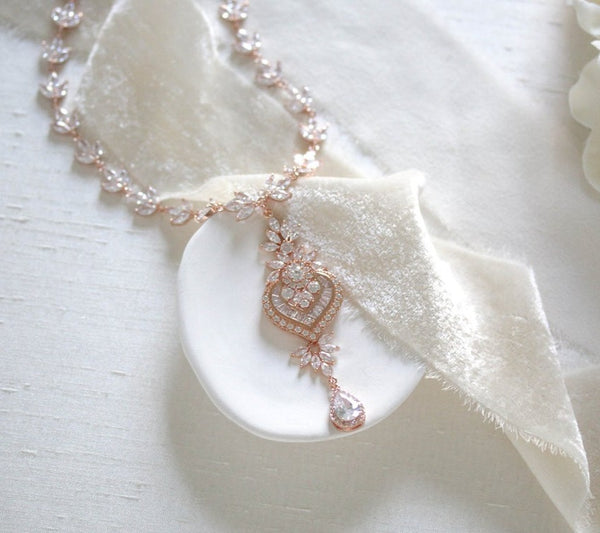 Rose gold cubic zirconia bridal necklace - EMMA