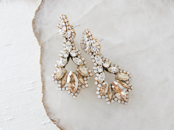 Antique gold statement bridal earrings with Swarovski crystals in modern vintage style - ALANA - Treasures by Agnes
