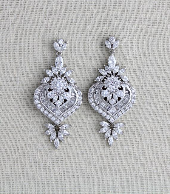 Silver or Rose gold CZ Bridal earrings, Art Deco vintage style earrings - EMMA - Treasures by Agnes