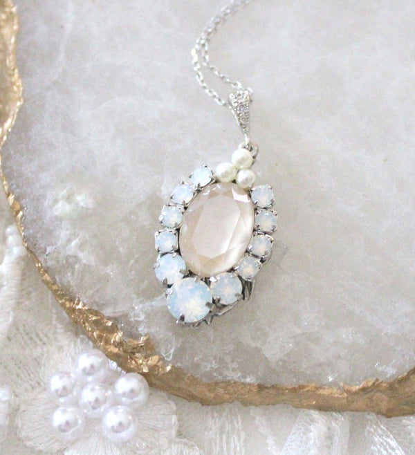 Swarovski crystal oval pendant bridal necklace - Treasures by Agnes