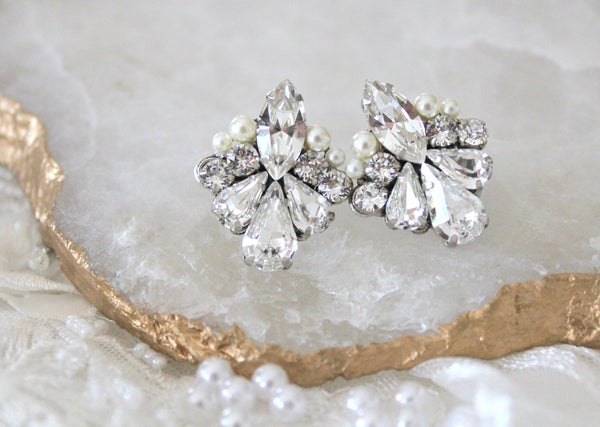 Swarovski Crystal stud bridal earrings - Treasures by Agnes