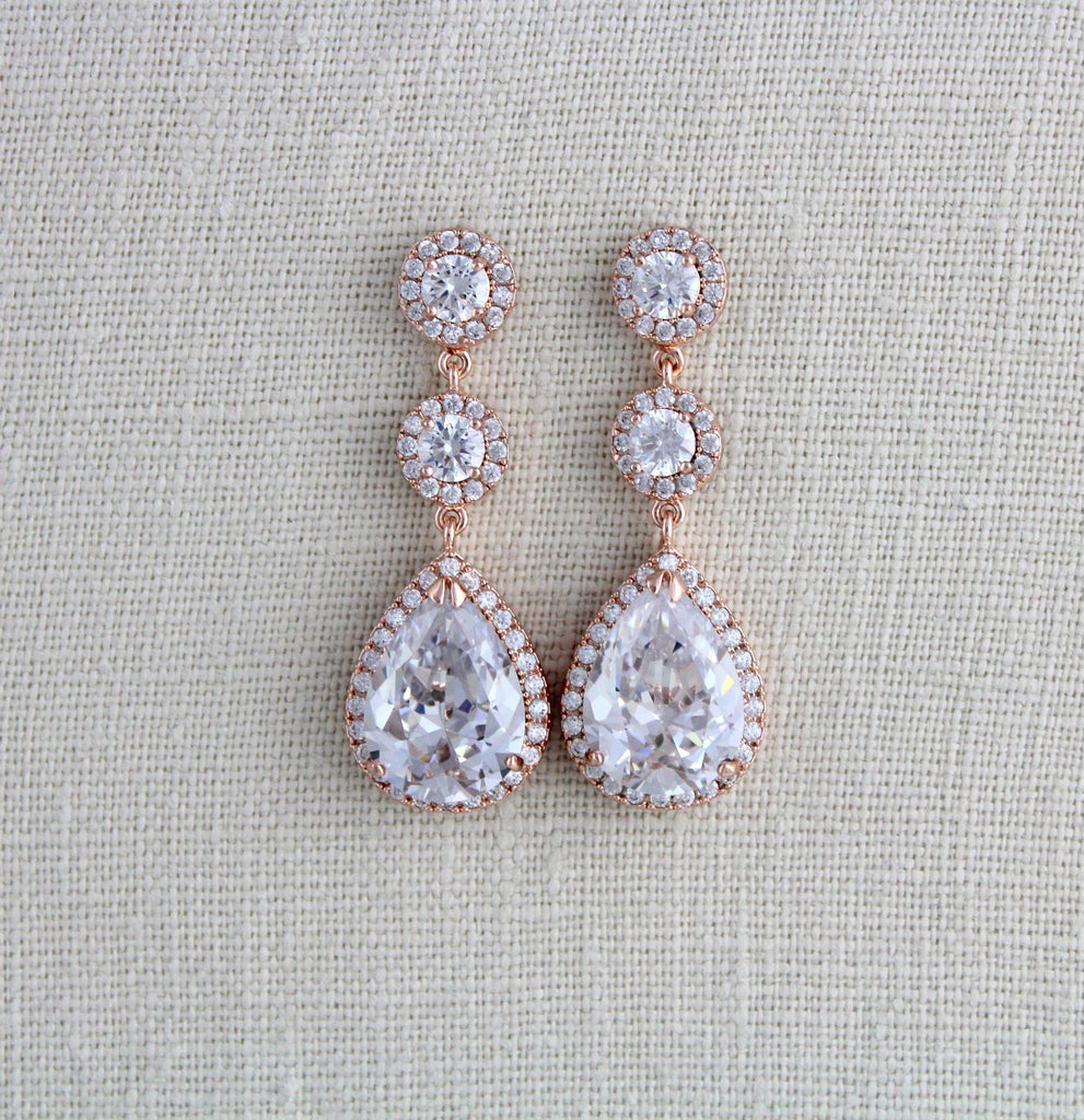 Rose gold Teardrop CZ dangle wedding earrings - Treasures by Agnes