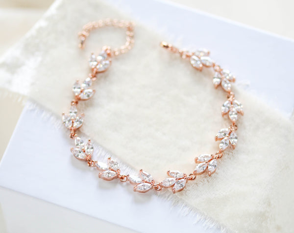 Rose gold marquise cubic zirconia Bridal bracelet - LAUREN - Treasures by Agnes