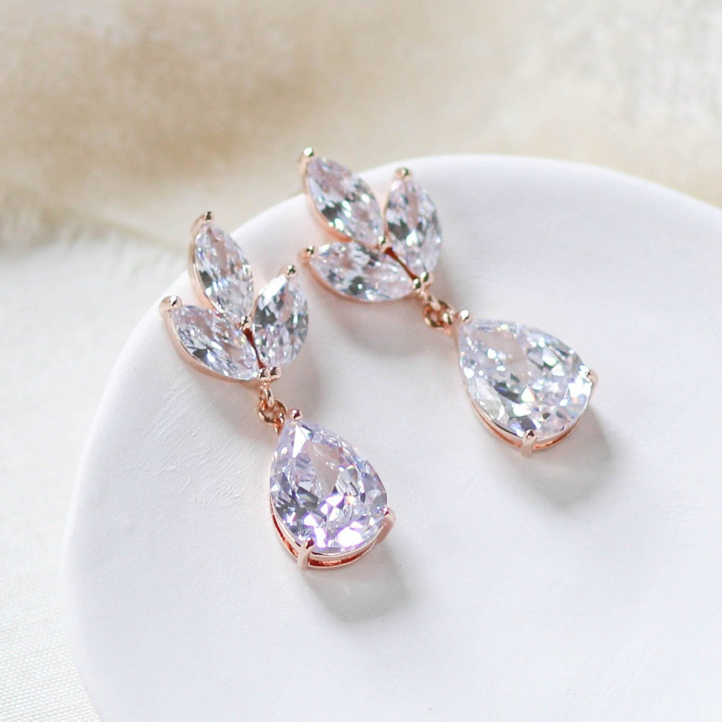 Rose gold CZ drop Bridal earrings Bridesmaid gift - LAUREN - Treasures by Agnes