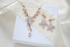 Rose gold Cubic Zirconia Bridal necklace and earring set - LILY - Treasures by Agnes