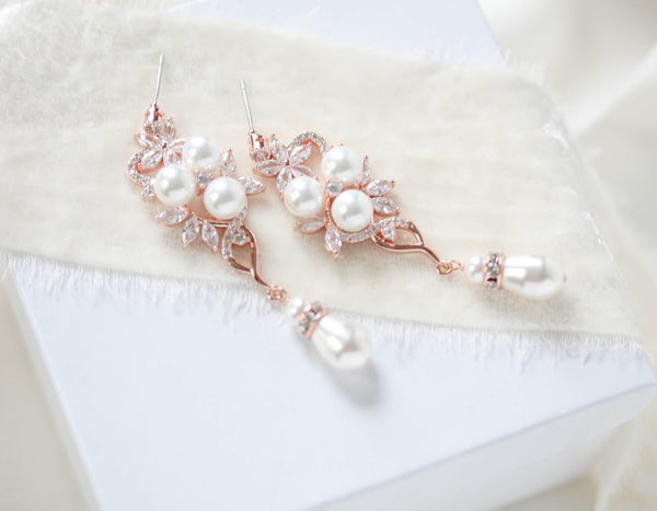 Long Rose gold Pearl drop Bridal earrings - MIA - Treasures by Agnes