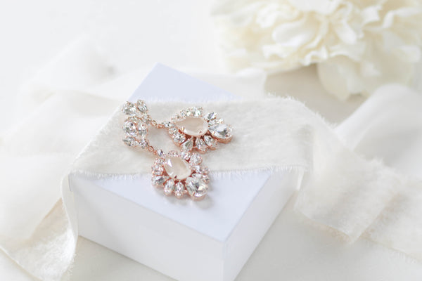 Swarovski Ivory cream accent Bridal earrings - ELISE - Treasures by Agnes