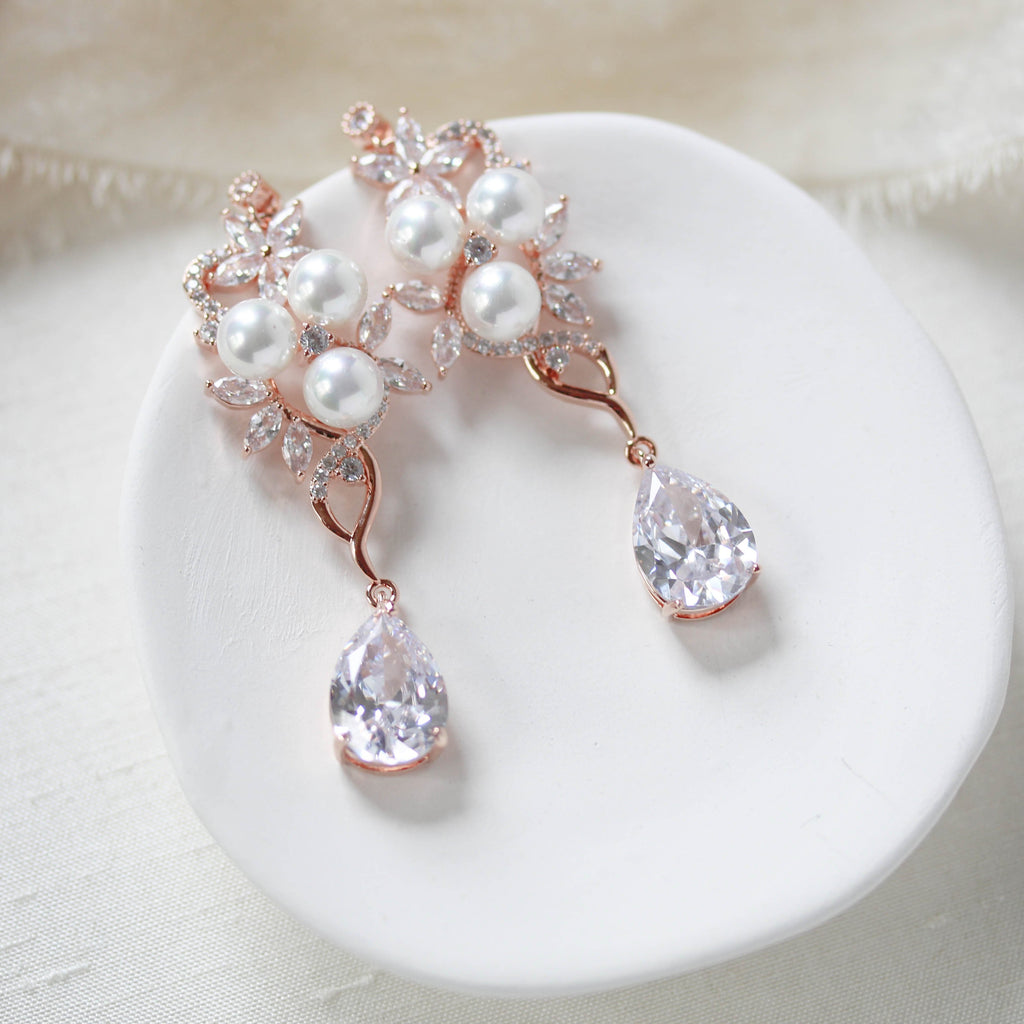 CZ drop wedding earrings Chandelier Bridal earrings - MIA - Treasures by Agnes