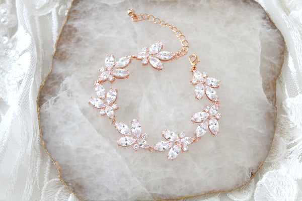 Rose gold Cubic Zirconia Bridal bracelet Leaf style - Treasures by Agnes
