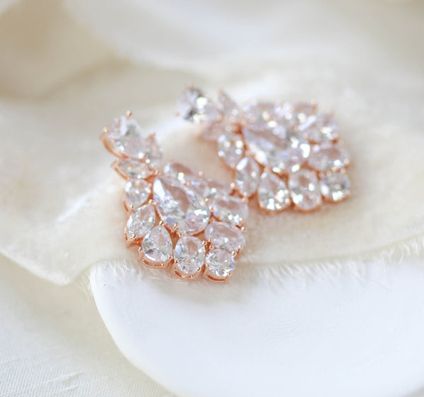 Rose gold Petite cubic zirconia chandelier bridal earrings - KATERI - Treasures by Agnes