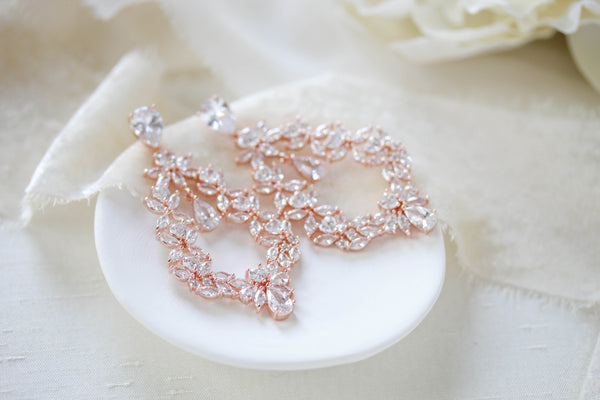 Rose gold Cubic Zirconia Hoop Bridal earrings - VALERIE - Treasures by Agnes