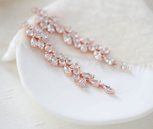 Long rose gold cubic zirconia Bridal earrings - JAMIE - Treasures by Agnes