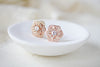 Rose gold flower stud CZ Bridal earrings Bridesmaid jewelry - Treasures by Agnes
