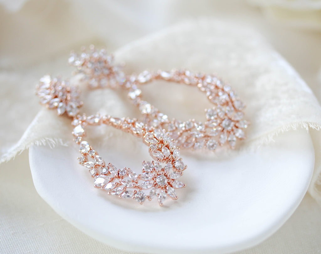Rose gold hoop style Bridal earrings with CZ stones - KIMBERLY - Treasures by Agnes