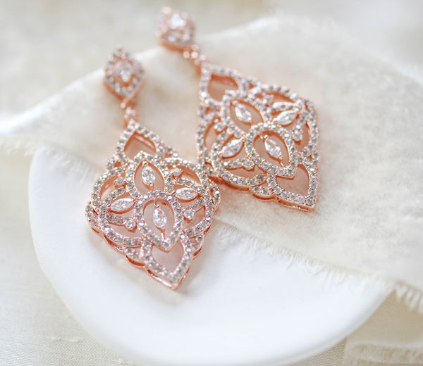Rose gold Bridal chandelier earrings EMILY - Treasures by Agnes