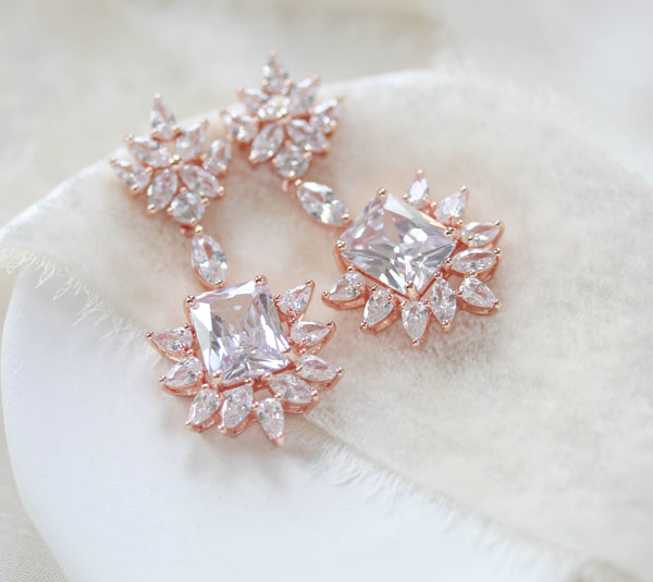 Rose gold Art Deco style Cubic Zirconia chandelier earrings - CLAIRE - Treasures by Agnes